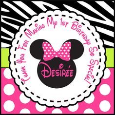 Minnie Birthday Square Gift Tags Animal Print Labels Polka Dots Personalized Tag for Party Favors