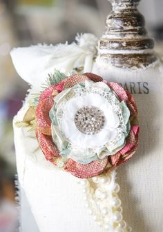 Fabric Flower Button Brooch - Coral Pink and Mint with Vintage Glass Button