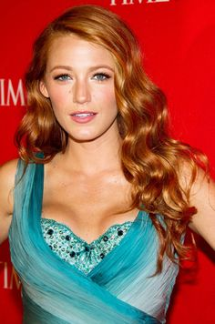 Blake Lively. Copper. Red. Beach. Wave. Hair