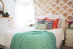 that scalloped wall! // Master Bedroom Makeover from Classy Clutter