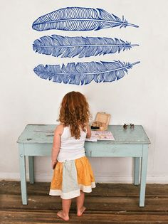 Feathers wall decal by newpoint on Etsy https://www.etsy.com/listing/168964197/feathers-wall-decal