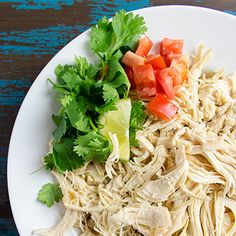 Easy preparation for shredded chicken using a slow cooker.