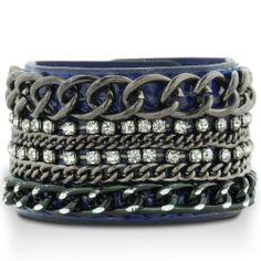 Amazon.com: CHAIN W/CRYSTAL BLUE LEATHER Royal Blue Patent Leather Rhinestone Encrusted Chain Cuff Bracelet: Jewelry