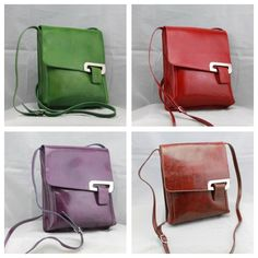 Fabulous Vera pelle crossover real leather bags, stunning colours! www.dollymixturesmarket.com or see them at Salisbury market