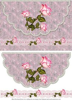 This sheet has an envelope card with flowers and pearls suitable for many occasions