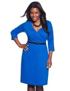 4bc183baed8 eloquii Signature 3 4 Sleeve Wrap Dress Womens Plus Size Blue 14 16