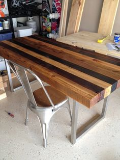 Multistained Dining table by indiTABLES on Etsy, $850.00. Loving this for kitchen option!