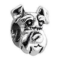 European Beads - dog head animal style pandora silver plated european bead. Schnauzer. $1.29