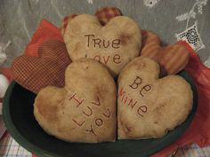 Primitive Valentine Conversation Hearts Muslin and Homespun