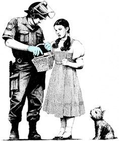 Banksy art, Dorothy gets frisked