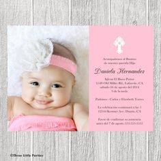 Love The Idea Of Baby S Picture To Send With Baptism Invite First Communion Invitations