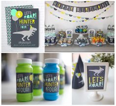 Let's Roar! T-Rex Dinosaur Party Printables Boy Birthday Party Blue, Mint, Lime Green Grey Dinosaur Birthday Party, 4th Birthday Parties, Dinosaur Cake, Third Birthday, Boy Birthday, Boys 2nd Birthday Party Ideas, Partys, T Rex, Dinosaurs