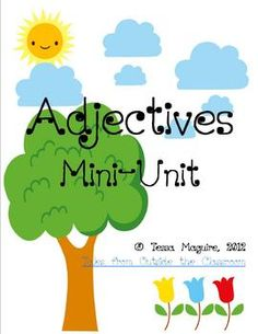 This is for a 18 page unit on adjectives.  It includes articles as well. Repinned by SOS Inc. Resources.  Follow all our boards at http://pinterest.com/sostherapy  for therapy resources.