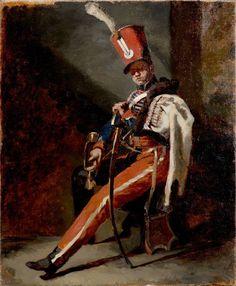 Théodore GÉRICAULT (Rouen 1791-Paris 1824) Étude préparatoire pour le Trompette de hussards d'Orléans en grande tenue toile 47 x 38 cm