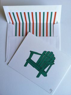 Adirondack Note Cards with coordinating by IdAndEgoCreations, $2.75