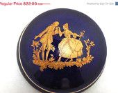 ON SALE LIMOGES Porcelain Container Cobalt & Gilt Vintage Victorian Revival Couple Fine painting French Collectible Pill Box Trinkets Jewelr