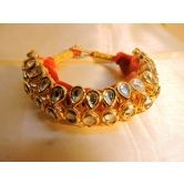 Kundan Gold Plated 3 Line Adjustable Bracelet