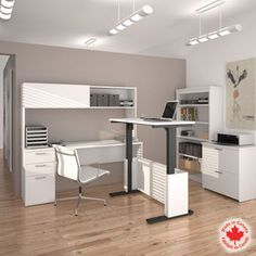 Bestar - Uptown White 3-pc L-Shape Desk with Height Adjustable Table