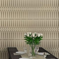 An Afro-Chic stencil pattern that is perfect for modern and global-inspired interiors! Our Large Tribal Stencil will add a ethnic touch and is ideal for stenciling walls, furniture, curtains and more.
