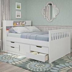 The CorLiving Madison Full Platform Captains Bed impresses with its all-wood construction and storage-centric design. The bottom of this platform bed. Kids Beds With Storage, Kids Bedroom Storage, Bed Frame With Storage, Under Bed Storage, Storage Ideas, Double Bed With Storage, Kids Double Bed, Twin Bed With Drawers, Twin Storage Bed