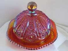 """Indiana Glass: """"Heirloom"""" amberina carnival glass covered butter dish"""