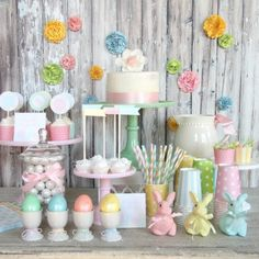 Love everything about this Easter party. Fun pastels. Great mix of polka dots & stripes! In love with that jadeite glass cake pedestal!