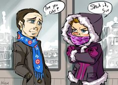 GAHHH I know I literally just pinned this but I looked at it again and realized Coulson's scarf has little Captain America shields on it!  Too cute!