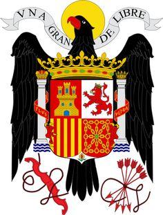 Escudo de España oficial entre 1939 y 1981,durante el Franquismo, la Transición y los primeros años de democracia española. Basado en el escudo original de los Reyes Católicos.