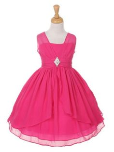 Fuchsia Double Layered Yoru Chiffon Flower Girl Dress in Size 4-14 in 6 Colors