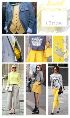Looks com a combinação de cores amarelo e cinza. Roupas com amarelo e cinza. Como usar amarelo com cinza. - Fashion in yellow and gray  #moda #blogdemoda