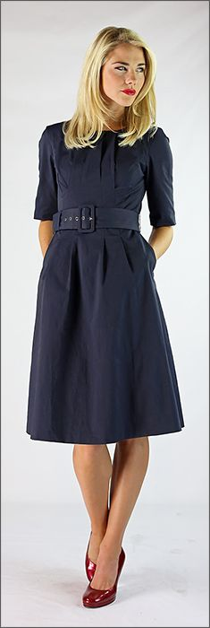 Madeline - a structured navy dress - picture it with a winter trench - perfect for cooler weather!