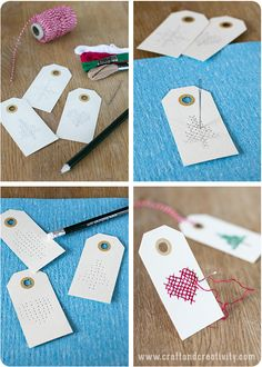 Cross stitched tags - etiketten borduren- by Craft & Creativity Christmas Tag, Christmas Crafts, Diy And Crafts, Paper Crafts, Gift Wraping, Christmas Inspiration, Cross Stitching, Diy Gifts, Cross Stitch Patterns