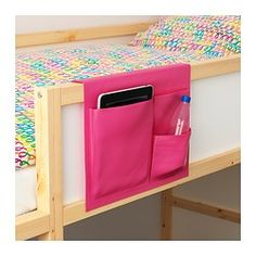 IKEA - STICKAT, Bed pocket, , Clever storage solution that you can hang on our children's beds.Three pockets in different sizes make it simple to organize both Bunk Bed Shelf, Bed Shelves, Bunk Beds, Bedside Storage, Hanging Storage, Wall Storage, Bedside Shelf, Bedside Tables, Cama Ikea
