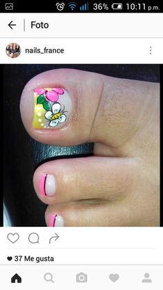 Uñas Cute Pedicures, Pedicure Nails, Manicure, Toe Nail Art, Toe Nails, Acrylic Nails, Cute Pedicure Designs, Toe Nail Designs, Summer Toe Designs