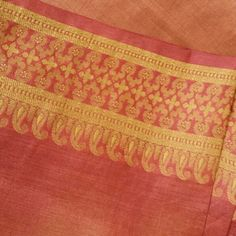 NEW ARRIVAL : Rusty Red Jacquard Pattern Bordered Sari Silk Fabric 3 yds -DIY fabric projects