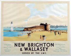 England - Cheshire - New Brighton - Vintage Tourism Poster - New Brighton & Wallasey LMS
