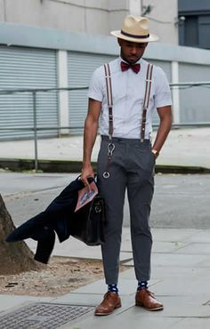 A cool look. I like the way his trousers are a litle too short.