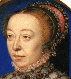 1555 example with red or black cap, red paste with SCATTERED PEARLS!! French Hood Images: Detail Catherine de Medici - Tudor Research - www.kimiko1.com