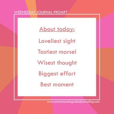 Wednesday Journal Prompt
