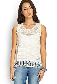 Crochet Lace Chiffon Top | FOREVER 21 - 2000063190