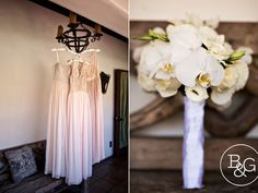 Simple orchid bouquets and romantic sequin + chiffon bridesmaid dresses. B&G Photography.