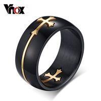 Vnox отделимые крест кольцо для мужчин женщина черный цвет из нержавеющей стали Прохладный Мужской дизайн ювелирных изделий
