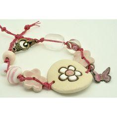 Pale Pink Floral Bracelet, Pastel Pink Flower Bracelet, Spring... ($25) ❤ liked on Polyvore featuring jewelry, bracelets, flower bangle, flower cuff bracelet, pastel jewelry, pink jewelry and ceramic jewelry