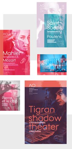 Auditorium Orchestre National de Lyon - Poster design on Behance - using overlay, adding mixture, By choosing to overlay portraits of composers, we create a virtual meeting, a sensitive and colorful history between the two characters. Shifting the composition reveals the artifice of the meeting leaving the express pure color.