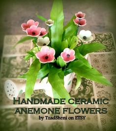 HANDMADE DECORATIVE CERAMIC FLOWERS Great for decorating your potted plants and flower beds. Mounted on sturdy, weatherproof, stainless steel stems. #Garden #Decor #Patio #Lawn #Yard #Handmade #Ceramic #Flowers #Art  #Table #Centerpiece #Long #Stems #Summer  #Party #Entertaining #Decoration by #TzadSheni on #Etsy