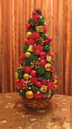 """Купить Новогодняя елочка """"Рождество"""" - ярко-красный, красный, елка, елочка, новогодний подарок, украшение"""