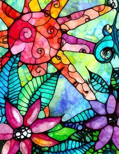 Sol flores de fiebre hojas impresión del arte por RobinMeadDesigns