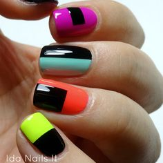 Top 40 Color Block Nail Designs for Women - Top Fashion Crazy Nails, Love Nails, How To Do Nails, Pretty Nails, My Nails, Color Block Nails, Nagellack Design, Neon Nails, Nagel Gel