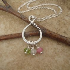 Mothers necklace in sterling silver with tiny birthstone gems. Earthy in style. The perfect everyday necklace. Perfect for mom or for a