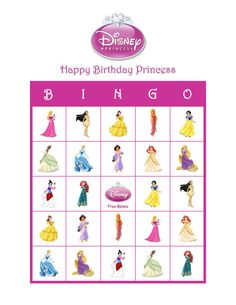 Disney Princess Personalized Birthday Party Bingo Cards Game Delivered by Email